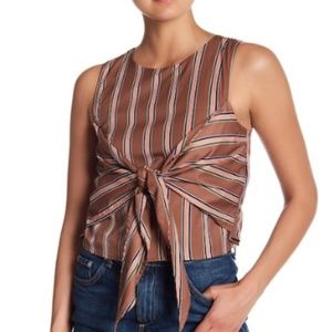 J.O.A. - Striped Front-Tie Woven Top